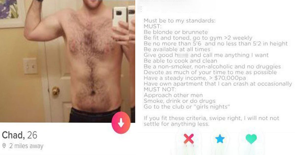 Man creates ridiculous list of demands on Tinder – and it's not gone down well