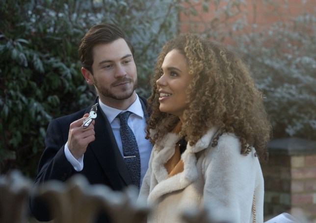 Gray Atkins and Chantelle outside their house in EastEnders
