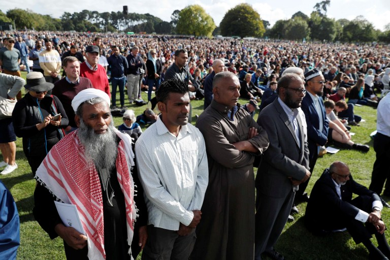 People attend the national remembrance service for victims of the mosque attacks, at Hagley Park in Christchurch, New Zealand March 29, 2019. REUTERS/Jorge Silva