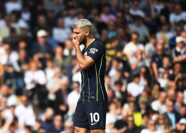 epa07472981 Manchester City's Sergio Aguero reacts during the English Premier League soccer match between Fulham FC and Manchester City at Craven Cottage in London, Britain, 30 March 2019. EPA/ANDY RAIN EDITORIAL USE ONLY. No use with unauthorized audio, video, data, fixture lists, club/league logos or 'live' services. Online in-match use limited to 120 images, no video emulation. No use in betting, games or single club/league/player publications.
