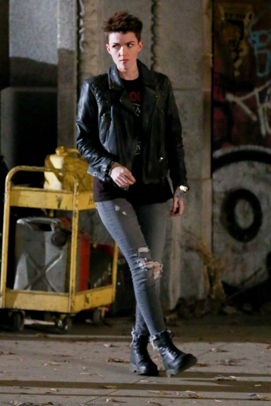 Chicago, IL - Model and actress, Ruby Rose gives us a first glimpse of her character as Batwoman while shooting a scene on the gritty streets of Chicago. Batwoman is more than Kate Kane, cousin to Bruce Wayne: She???s openly gay, and her introduction is a prelude of plans to develop and produce a new image of ???Batwoman???. Bringing Batwoman into the CW/DC Universe began in 2017, but it took ???a while??? for Warner Brothers and DC to get on board. The potential series breaks yet another barrier for Berlanti as Batwoman becomes the first-ever superhero series to be led by a lesbian character ??? and played by an openly gay actress in Rose. Pictured: Ruby Rose BACKGRID USA 30 MARCH 2019 BYLINE MUST READ: SHADY / BACKGRID USA: +1 310 798 9111 / usasales@backgrid.com UK: +44 208 344 2007 / uksales@backgrid.com *UK Clients - Pictures Containing Children Please Pixelate Face Prior To Publication*