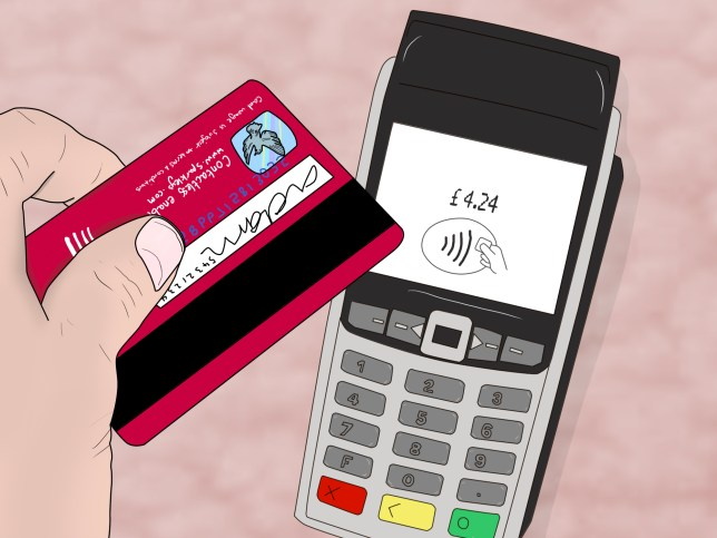 Illustration of someone holding a credit card over a card reader