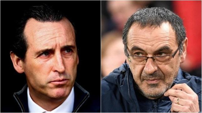 Arsenal boss Unai Emery and Chelsea manager Maurizio Sarri