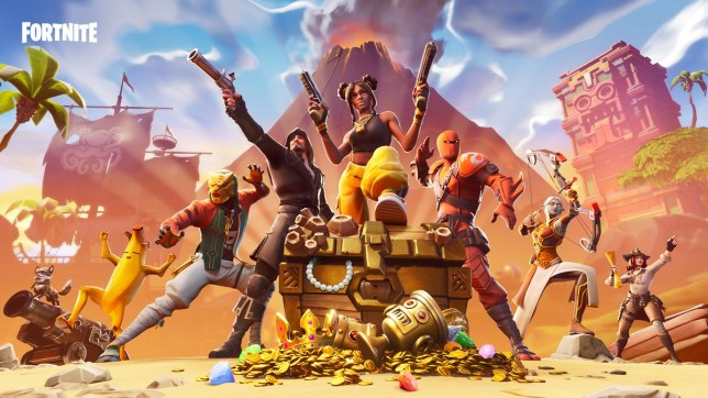 Fortnite characters surrounding a treasure chest full of treasure