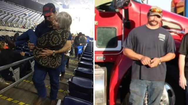 Off-duty firefighter carried elderly woman up stadium steps in selfless act