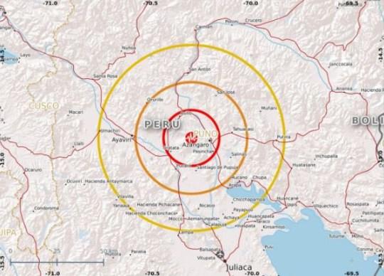 ADAM Disaster Alerts ??? @WFP_ADAM 25m25 minutes ago #Earthquake in #Puno, #Peru (10m ago). 9km WNW of Azangaro. #Magnitude: 7.1 Depth: 258.0