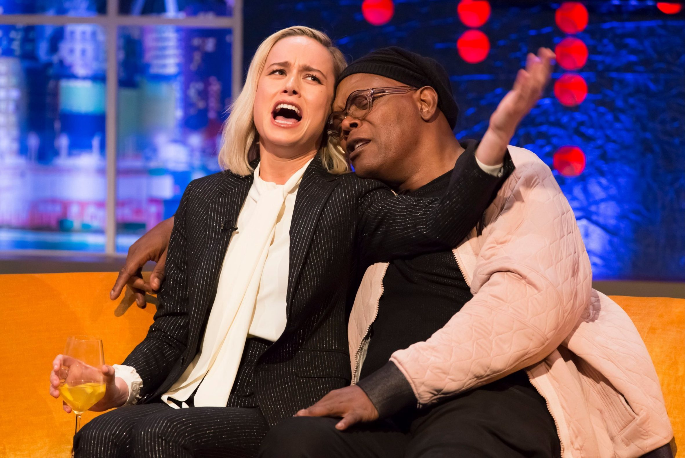 Mandatory Credit: Brian J Ritchie/Hotsauce Editorial Use Only Mandatory Credit: Photo by Brian J Ritchie/Hotsauce/REX (10125518al) Brie Larson, Samuel L Jackson 'The Jonathan Ross Show' TV show, series 14, Episode 1, London, UK - 02 Mar 2019