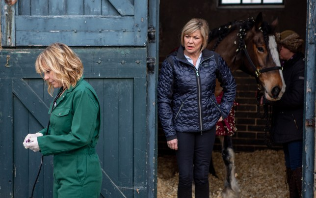 Rhona Goskirk (Zoe Henry) falls into Kim Tate's (Claire King) trap