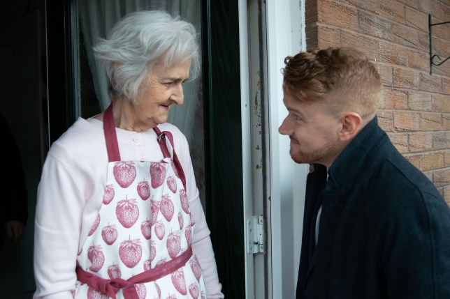 Gary threatens an old lady in Coronation Street