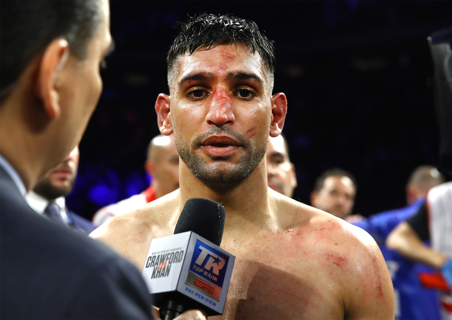 Amir Khan speaks to ESPN in the ring (Picture: Mikey Williams/Top Rank)
