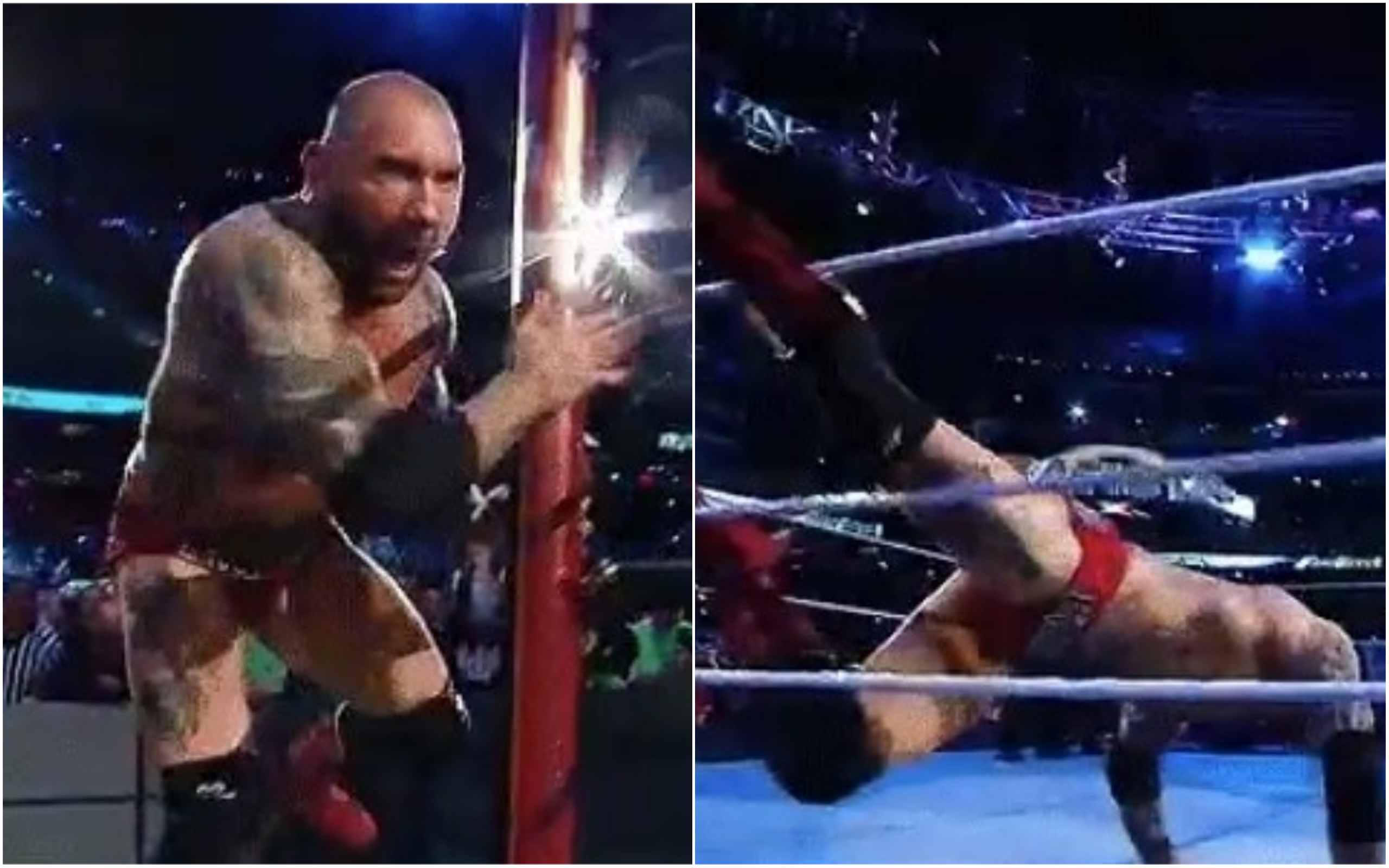 Batista trips up during WWE Wrestlemania 35 entrance before