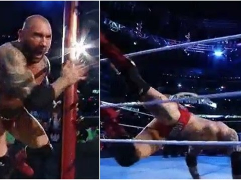 Batista trips up during WWE Wrestlemania 35 entrance before Triple H match