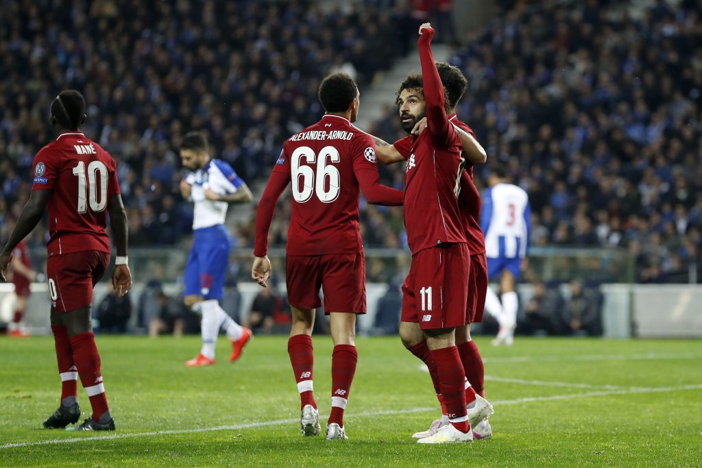 Mohamed Salah celebrates scoring against Porto