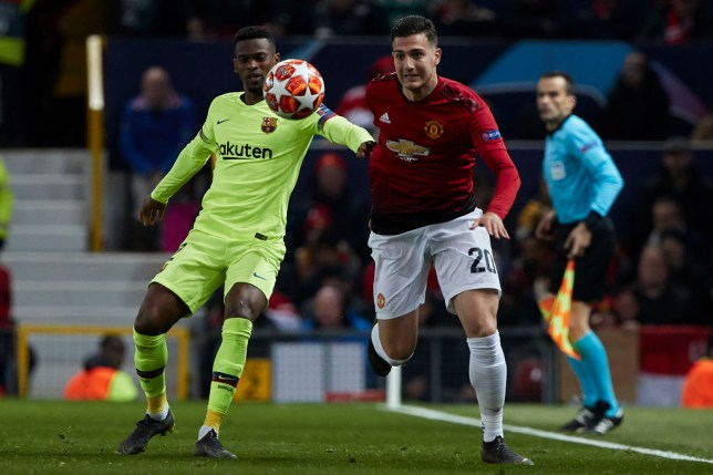 Manchester United full-back Diogo Dalot starts on the bench at the Nou Camp