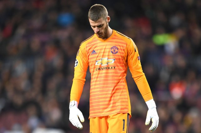 Manchester United goalkeeper David de Gea reacts to Lionel Messi howler