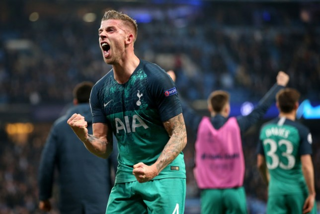 Toby Alderweireld celebrating Spurs' win at full-time