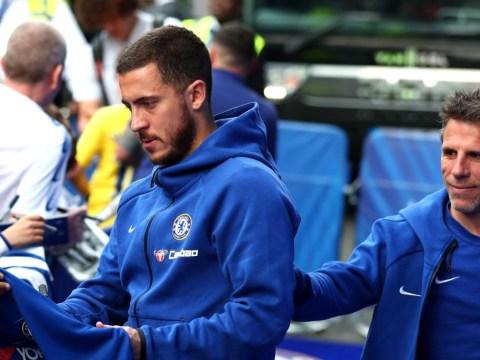 Chelsea's Maurizio Sarri and Eden Hazard react to Man Utd, Arsenal and Tottenham defeats