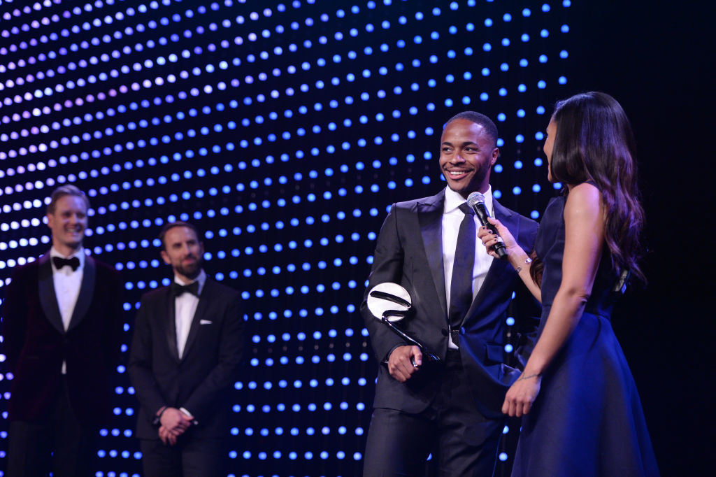 Raheem Sterling accepts the The Integrity and Impact Award