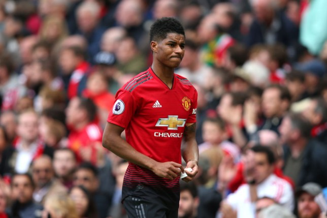 MANCHESTER, ENGLAND - APRIL 28: An injured Marcus Rashford of Manchester United walks along the touchline during the Premier League match between Manchester United and Chelsea FC at Old Trafford on April 28, 2019 in Manchester, United Kingdom. (Photo by Alex Livesey/Getty Images)
