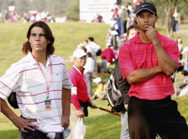 Nadal, left, alongside Woods, right, at the HSBC Champions tournament at The Sheshan International Golf Club