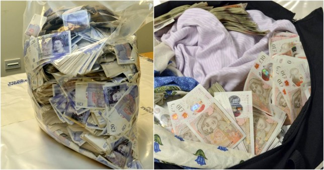 Sathar Khan, 35, was stopped at Stanstead Airport as he tried to jet off with the wads of cash concealed in four cases weighing more than 80kg in total.