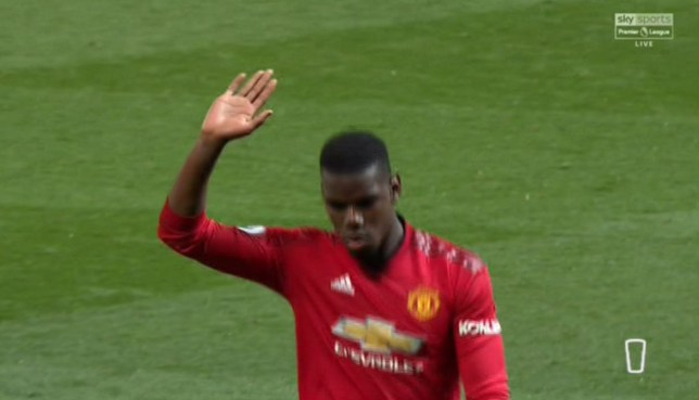 Paul Pogba held his hand up as an apology to Manchester United fans after the loss to Manchester City