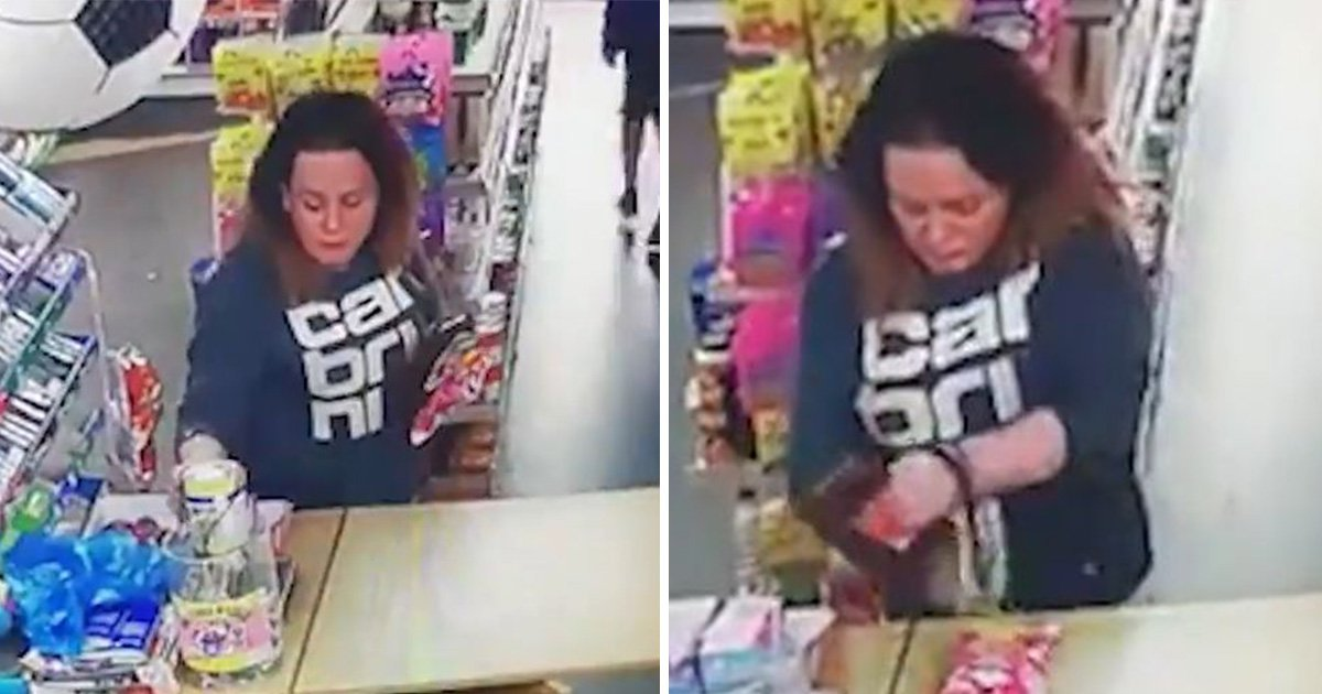 Woman brazenly steals charity box from shop counter by distracting checkout boy