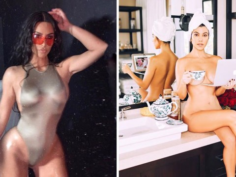 Kim Kardashian drums up support for Kourtney's new venture Poosh by posing in a tiny gold bodysuit