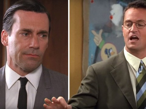 Chandler Bing pitching an idea to Don Draper is the Friends and Mad Men mashup we never knew we needed