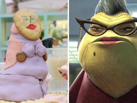 Caroline Flack makes 3D Me biscuit on Celebrity Bake Off but fans think it looks more like Roz from Monsters Inc