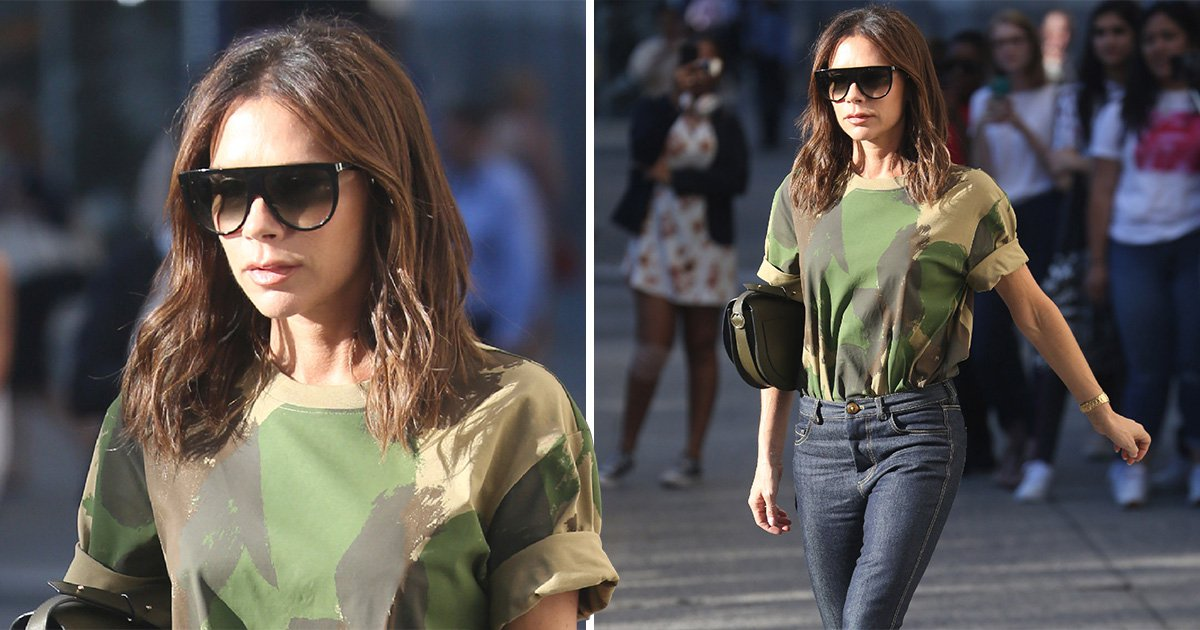 Victoria Beckham is the queen of cool while heading out in New York in £195 camouflage tee from her own line