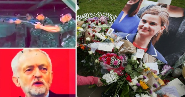 The army video of soldiers shooting at a poster of Jeremy Corbyn and Jo Cox MP's death