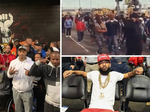 LA gangs march peacefully for first time in 27 years in tribute to Nipsey Hussle