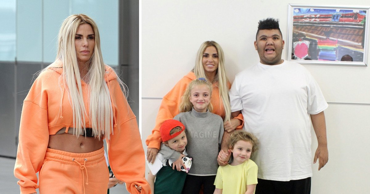 Katie Price is pleased as punch as she helps son Harvey unveil train artwork at Gatwick Airport