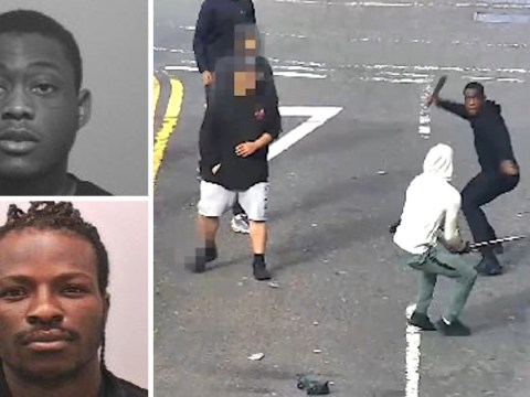 Two men swing at each other with machetes in middle of road