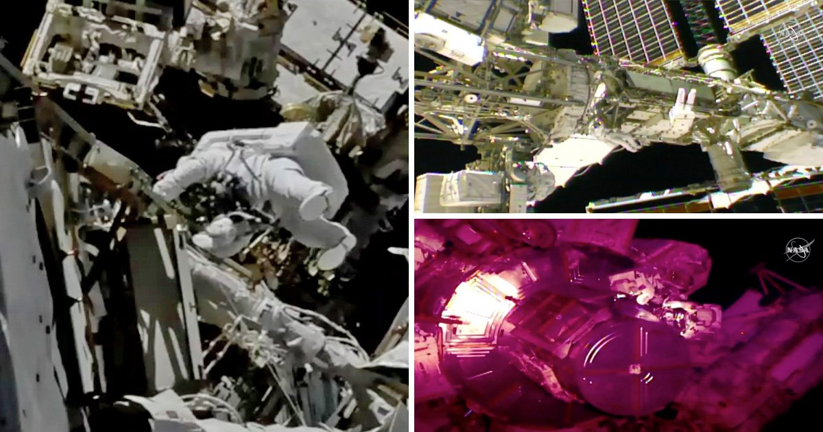 Spacewalking astronauts are out fixing batteries on the ISS