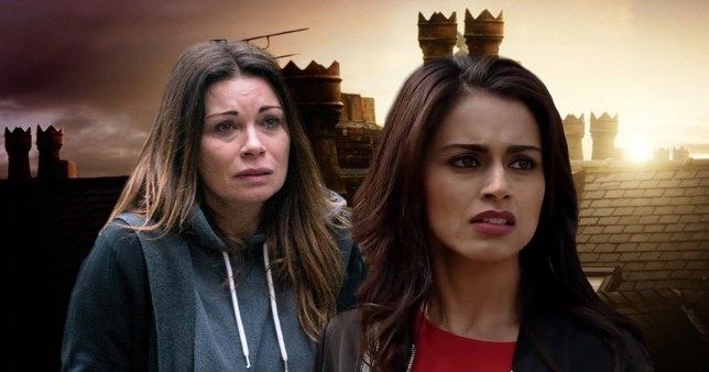 Carla Connor (Alison King) and Rana Habeeb (Bhavna Limbachia) in coronation street