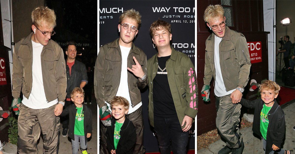 Jake Paul brings mini-me Tydus Talbott, four, to Justin Roberts' party and it's actually really cute