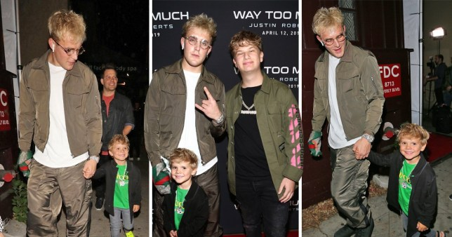Jake Paul and Tydus Talbott are seen at Justin Roberts Way Too Much music video release party