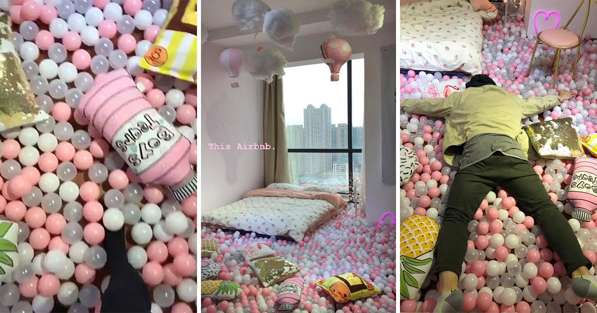 There's an amazing Airbnb where you can sleep in this dreamy pastel ball pit