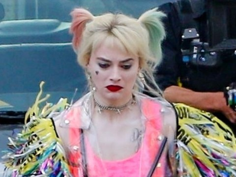 Margot Robbie chomps burger, loses shoe and flees police as Harley Quinn runs wild