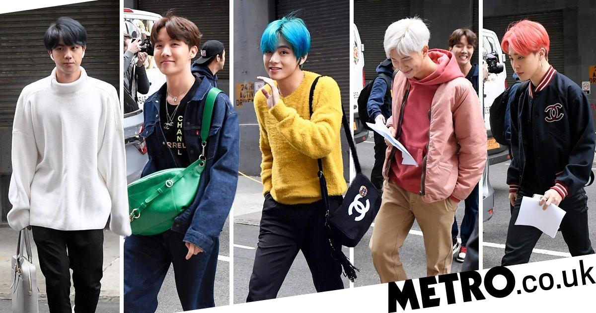 BTS nail casual street style as they're pictured in the wild in New York City