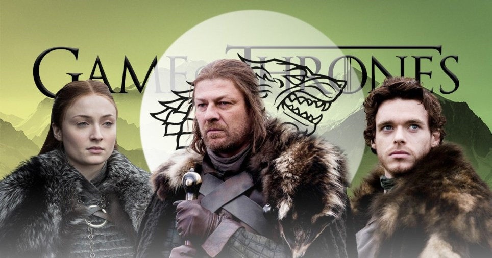 Sansa Stark, Ned Stark and Robb Stark in front of the Stark sigil in Game of Thrones