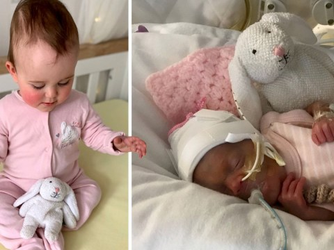 Premature baby born smaller than her toy rabbit celebrates first birthday