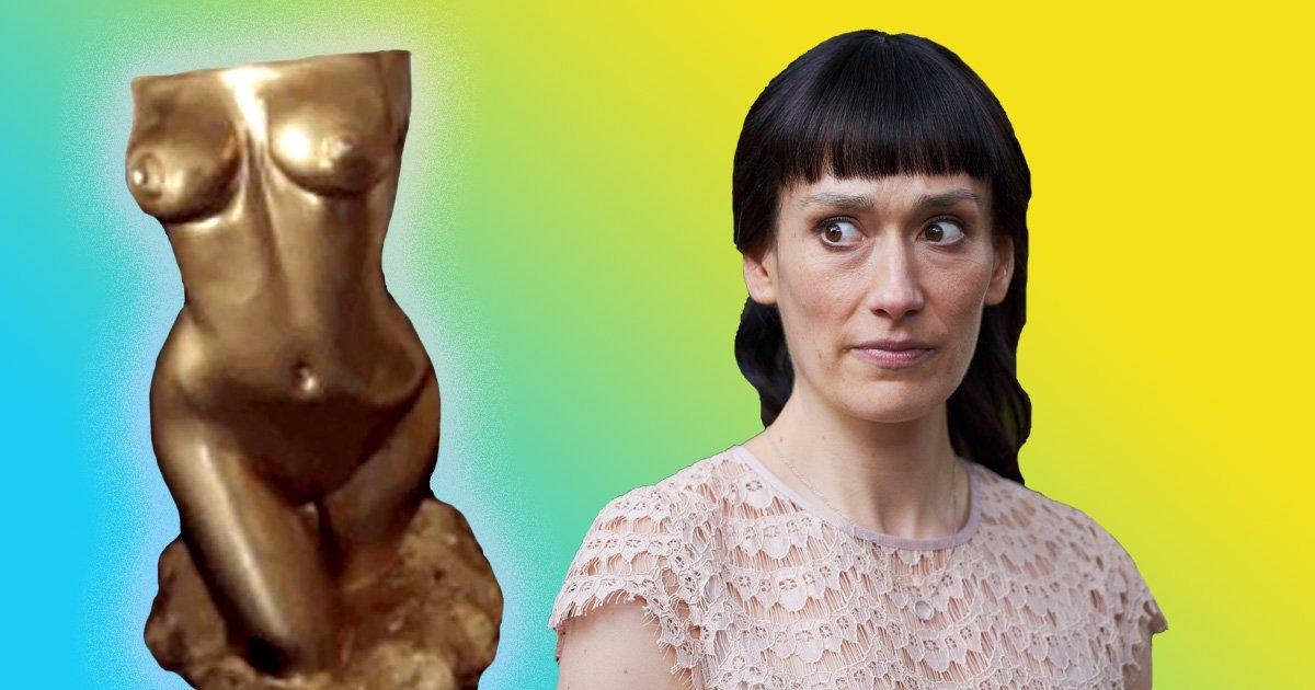 Sian Clifford has the Fleabag sculpture (Picture: BBC)