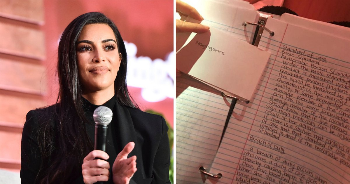 Kim Kardashian is serious about this law thing as she shows off excruciatingly neat handwriting and study notes