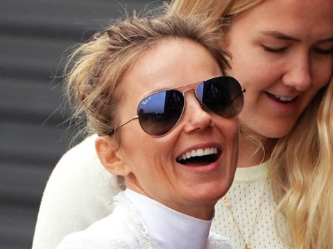 Geri Horner can't stop smiling as she heads to Spice Girls rehearsals while Mel B stays in LA