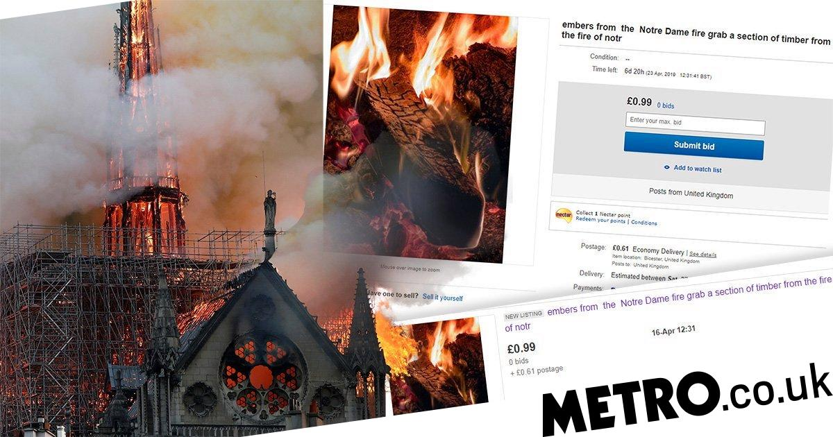 Someone tried to sell timber 'from remains of Notre Dame cathedral' on eBay