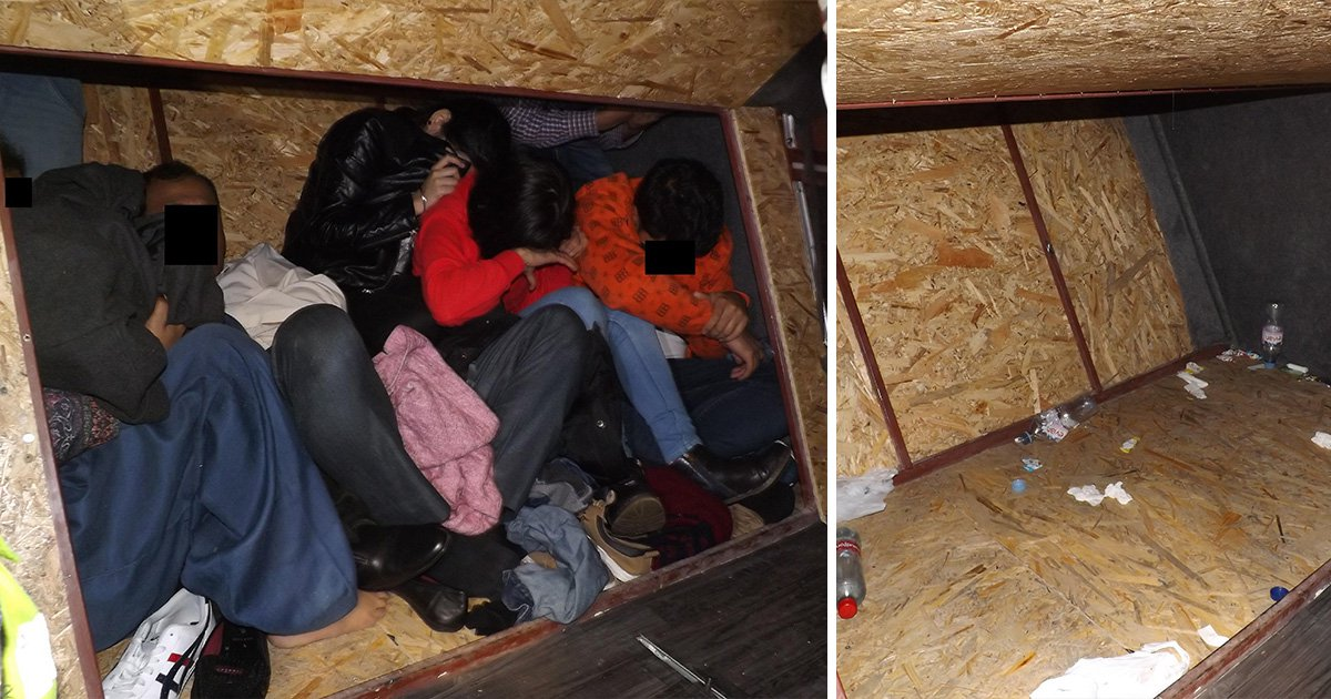 Inside specially adapted van Romanian people smuggler used to get people into UK