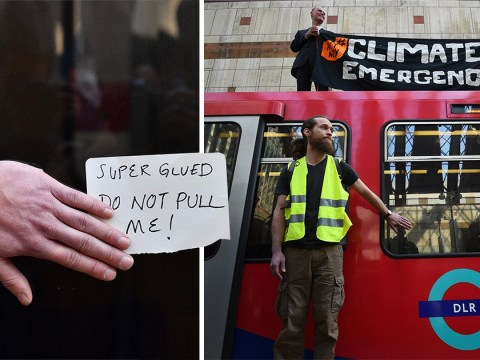 Climate change protesters bring DLR to halt by targeting train at Canary Wharf
